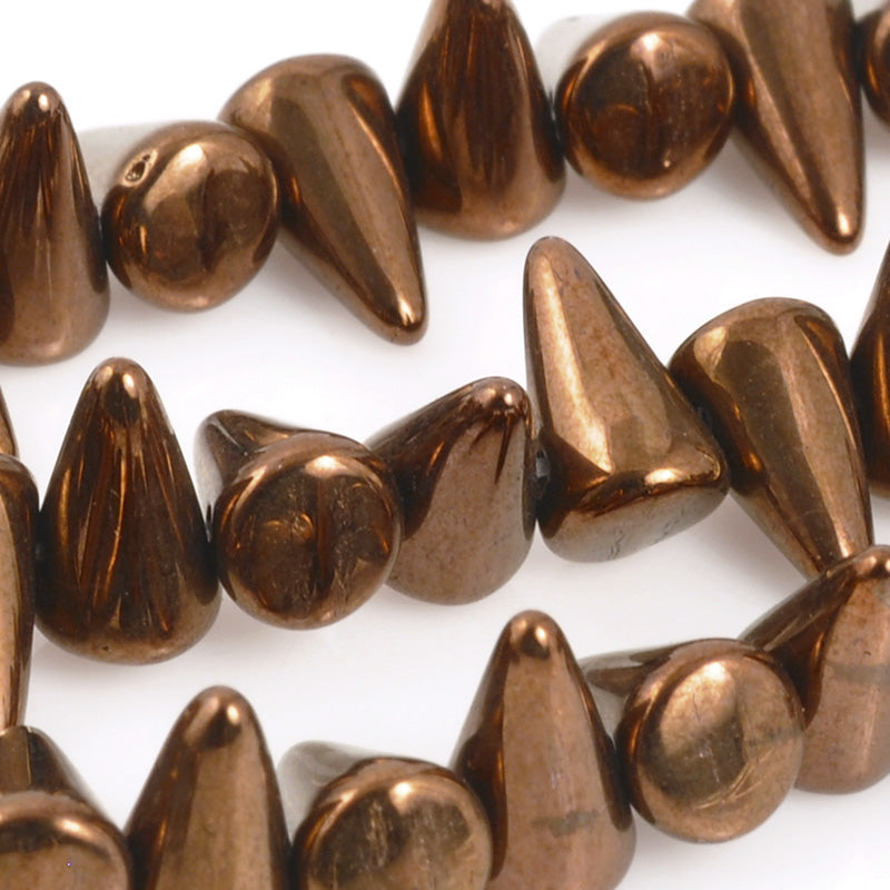Glass Beads-5x8mm Mini Spike-Jet Bronze-Czech-Quantity 1