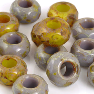 Glass Beads-8x13mm Rondelle-Sunflower Taupe Picasso Mix-Czech-Quantity 1