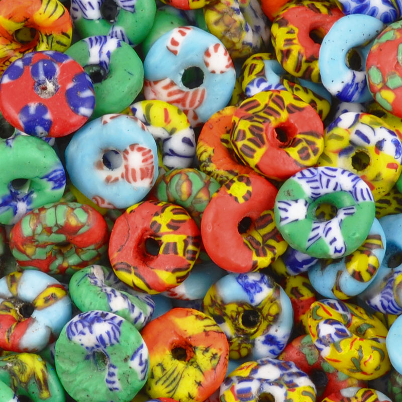 Glass Beads-Powdered Rondelle Recycled-Ghana-Ablaze