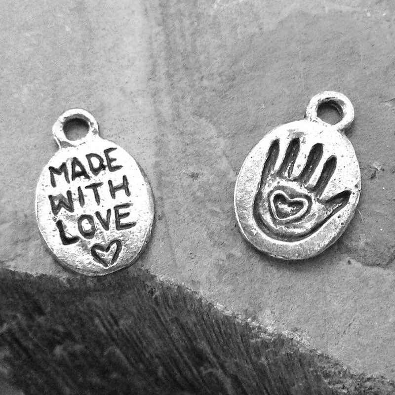 Green Girl Studios-10x12mm Pewter Charm-Made With Love Hand