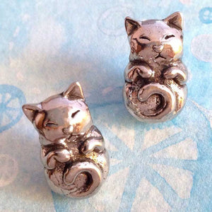 Green Girl Studios-10x20mm Pewter Beads-Sleeping Kitty-Antique Pewter