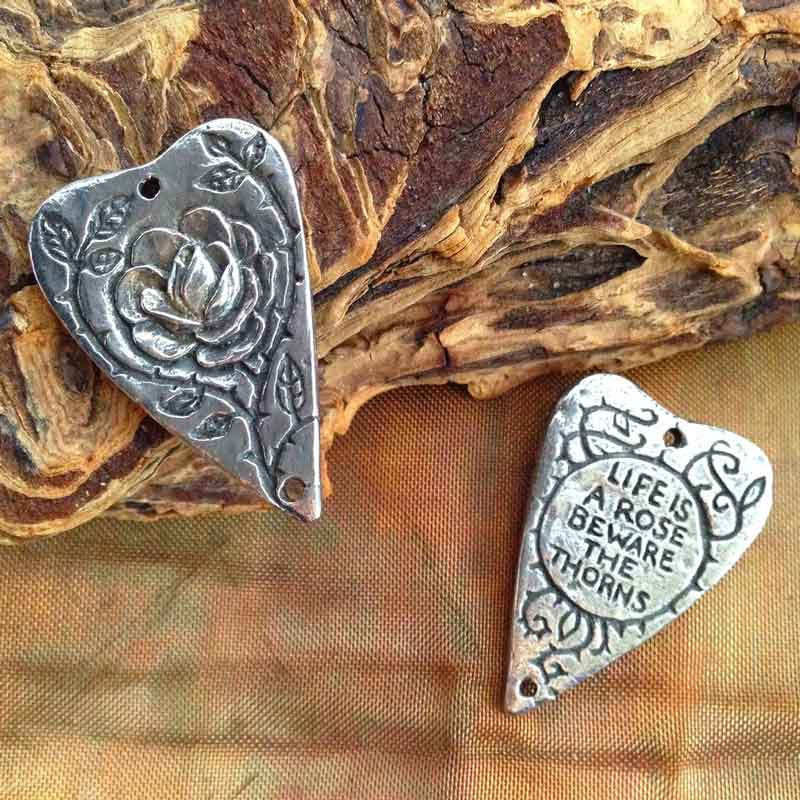 Green Girl Studios-19x28mm Pewter Connector-Heart Rose