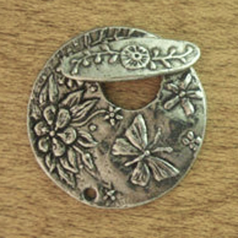 Green Girl Studios-20mm Round Butterfly Toggle-Antique Pewter-Quantity 1