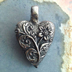 Green Girl Studios-20x30mm Pewter Pendant-Floral Heart