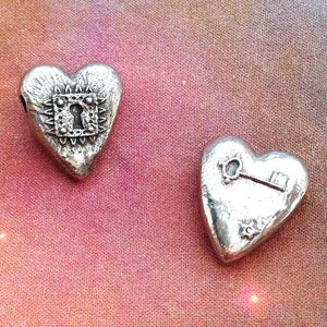 Green Girl Studios-21x18mm Pewter Beads-Locked Heart-Antique Pewter