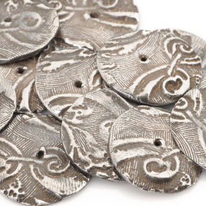 Handmade-PMC Antique Silver Focal Bead
