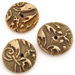 Handmade-Precious Metal Clay-Antique Gold Focal Bead-Quantity 1