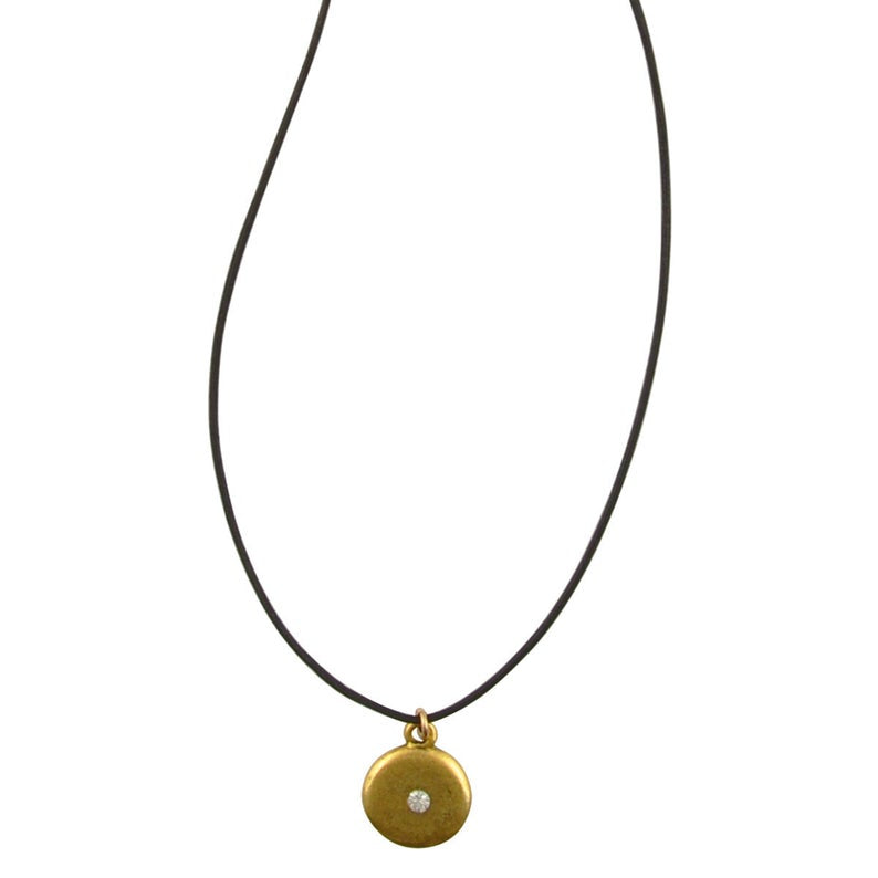 Finished Jewelry-Leather-Gold Disc With Crystal Necklace