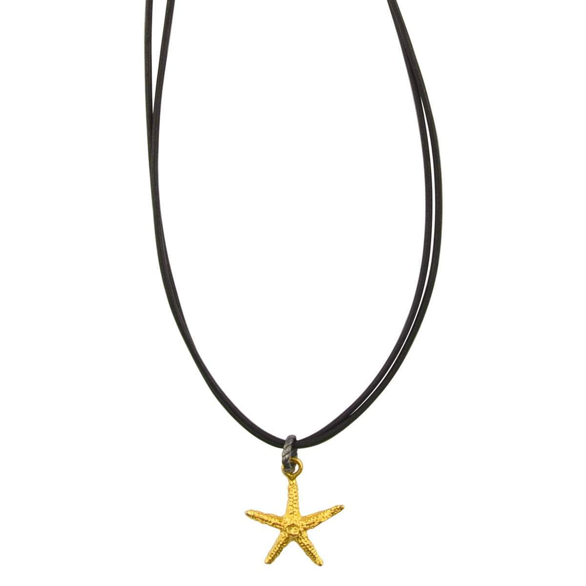 Finished Jewelry-Leather-Gold Starfish Necklace