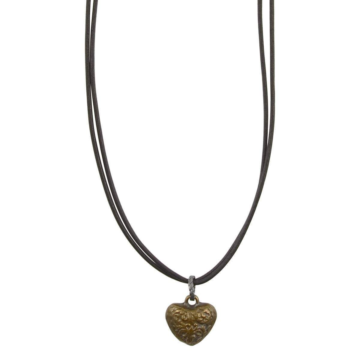 Leather Jewelry-Ornate Heart Necklace-Antique Bronze