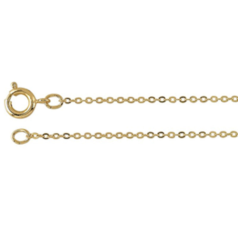 Jewelry Chain-1.2mm Brass Flat Cable Chain Gold with Spring Ring Clasp