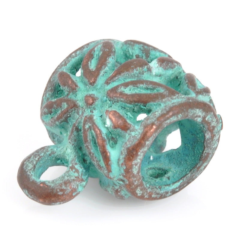 Castings-11x13mm Flower Bail With Ring Casting-Green Patina
