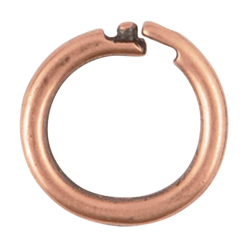 Findings-6mm Round Locking Jump Rings-14 Gauge-Antique Copper