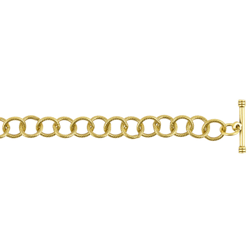 Jewelry Supplies-10mm Brass Cable Bracelet With Toggle Clasp-Antique Gold
