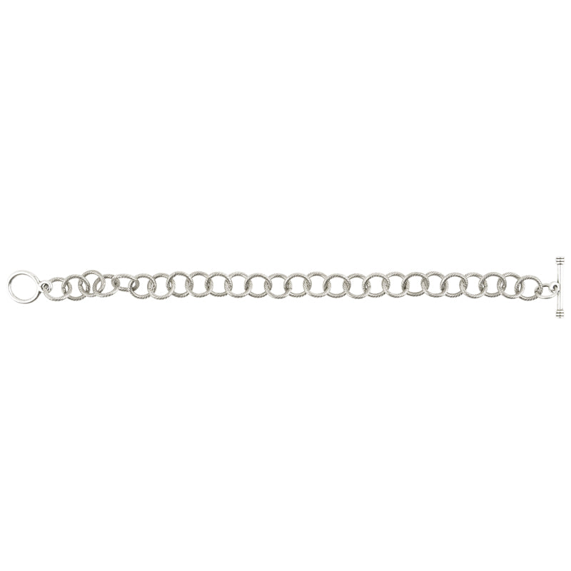 Jewelry Supplies-10mm Brass Cable Bracelet With Toggle Clasp-Antique Silver