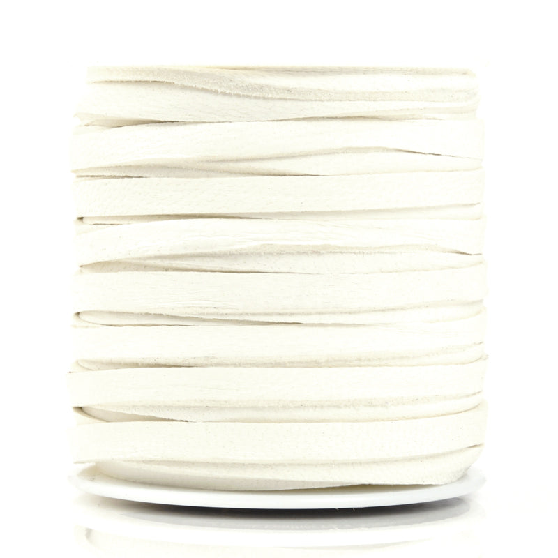 Leather-5mm Deerskin Lace-3/16 Inch-White
