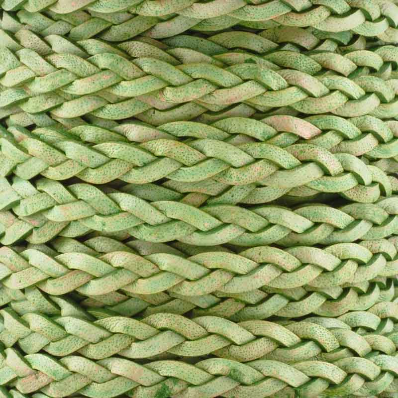 Leather Cord-5mm Flat Braid-Natural Green