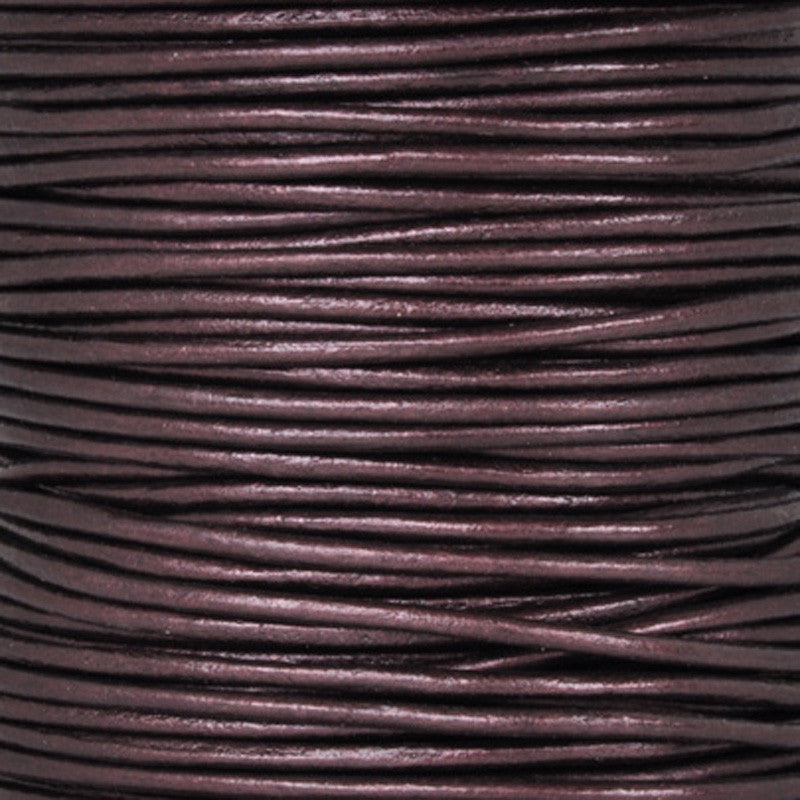 Leather Cord-Round-Metallic Maroon