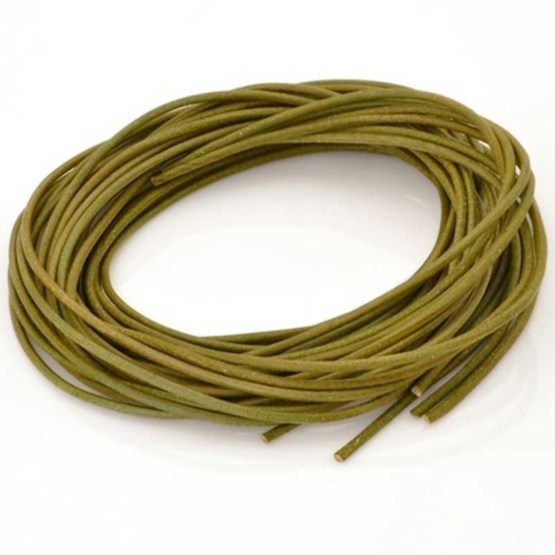 Leather Cord-1.3mm Round Cord-Natural Olive-Made In Germany-1 Meter