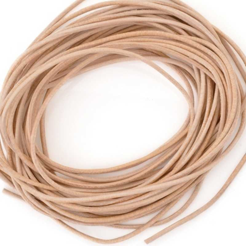 Leather Cord-1.3mm Round Cord-Natural-Made In Germany-1 Meter