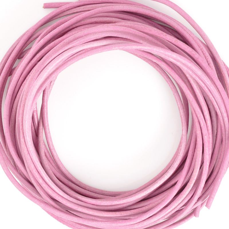 Leather Cord-1.3mm Round Cord-Pink-Made In Germany