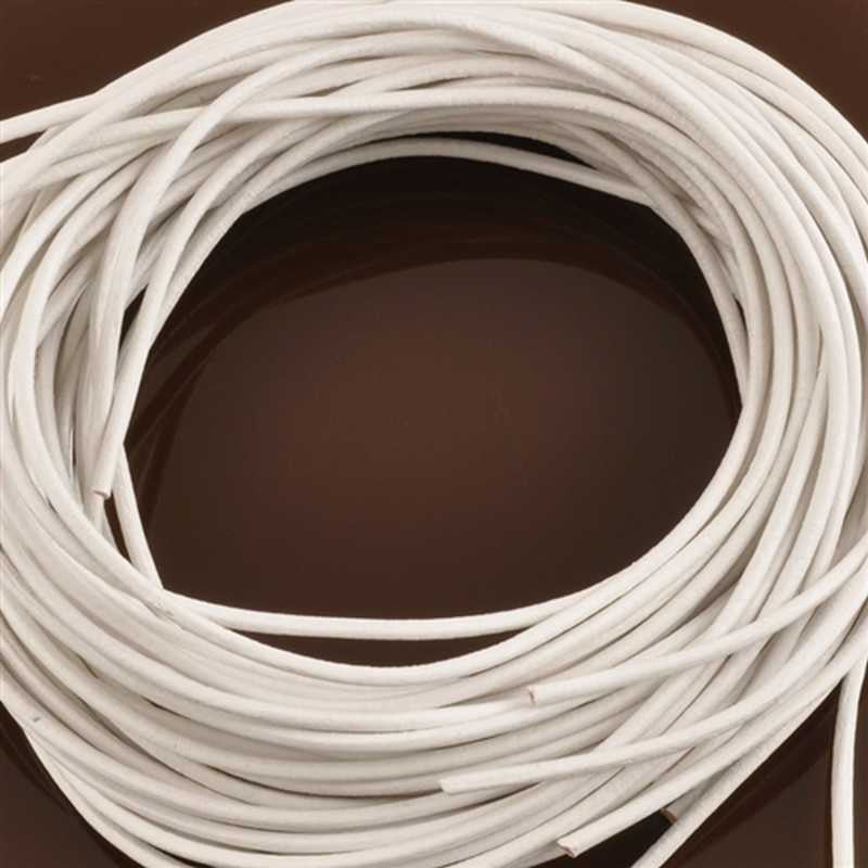 Leather Cord-1.3mm Round Cord-White-Made In Germany-1 Meter