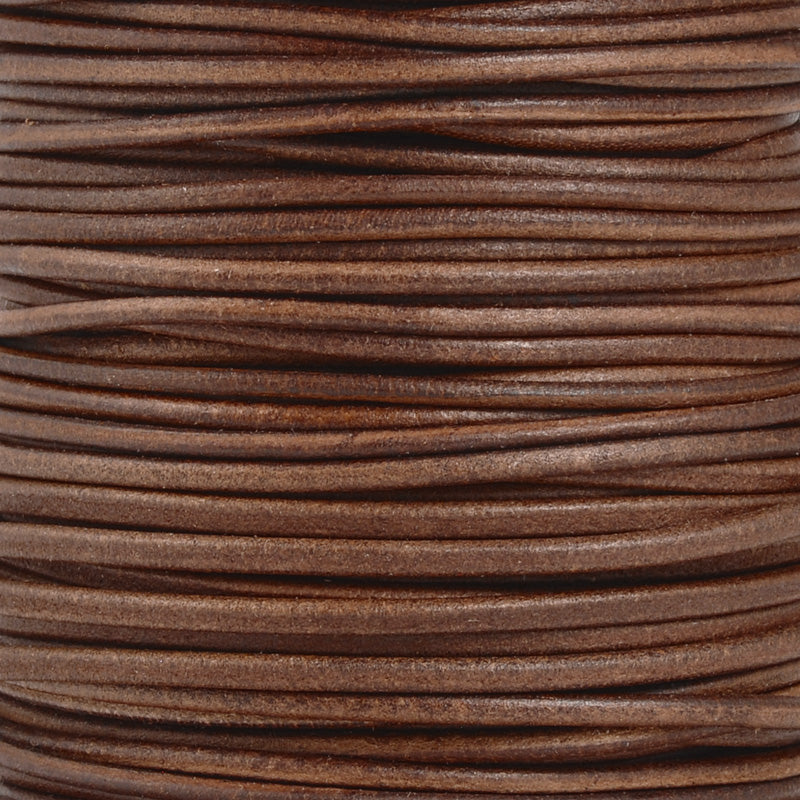 Leather Cord-2.5mm Round-Soft-Natural Cornelian-1 Meter
