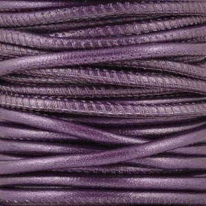 Leather Cord-2.5mm Stitched Nappa Cord-Berry-10 Meter Spool
