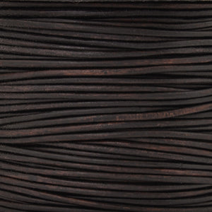 Leather Cord-2mm Round-Soft-Natural Dark Brown-50 Meters