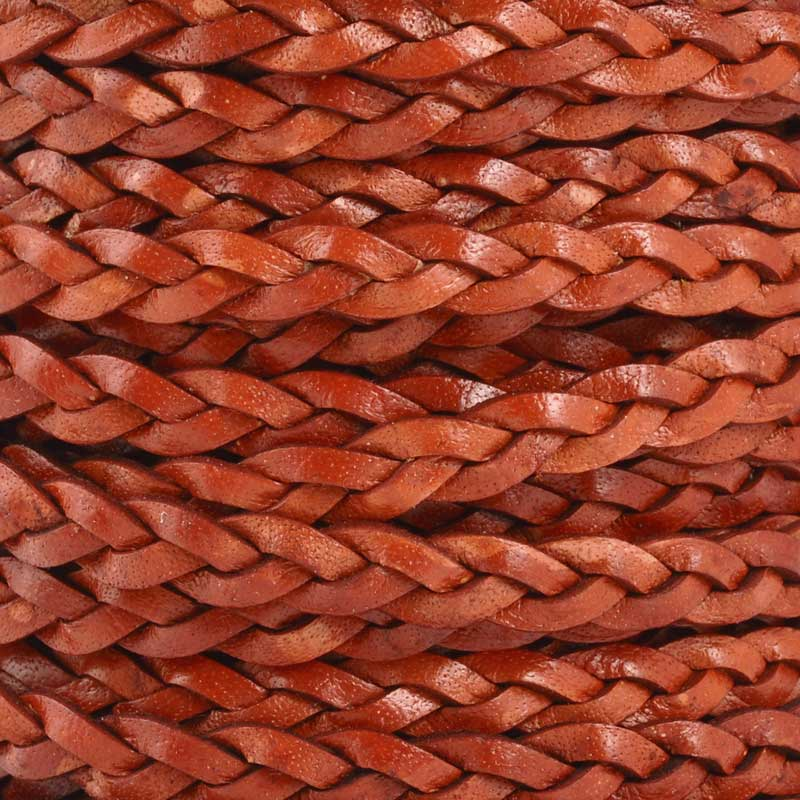 Leather Cord-5mm Flat Braid-Antique Terra Cotta