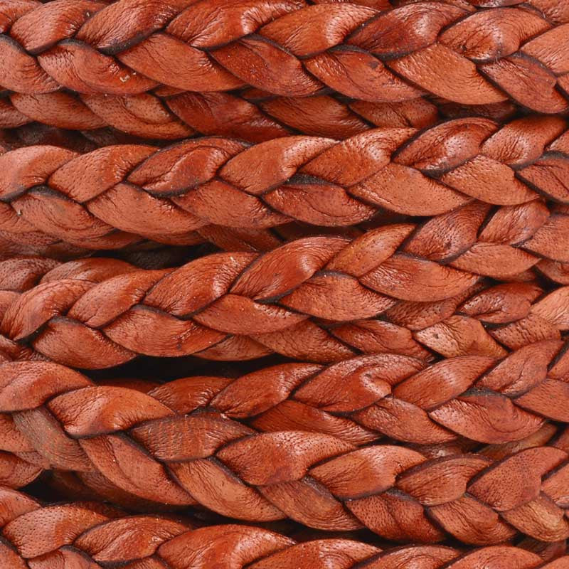 Leather Cord-9mm Flat Braid-Antique Terra Cotta
