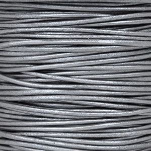 Leather Cord-Round Cord-Metallic Grey