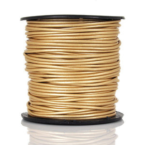 Leather Cord-Round-Metallic Gold-Soft