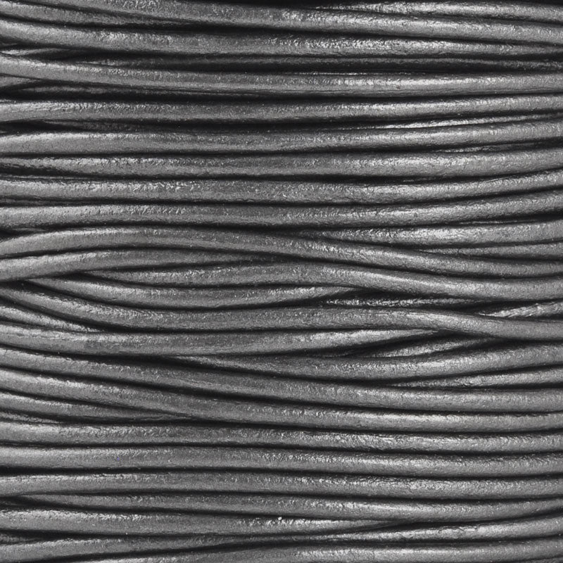 Leather Cord-Round-Soft-Metallic Gunmetal
