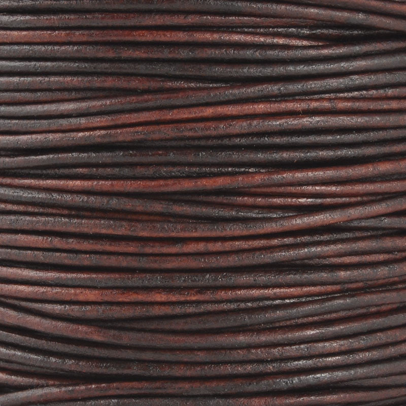 Leather Cord-Round-Soft-Natural Antique Brown