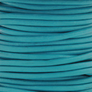 Leather Cord-Round-Soft-Turquoise