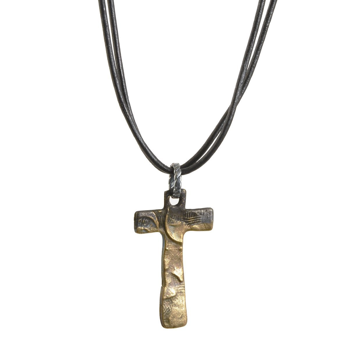 Leather Jewelry-Small Victorian Cross Necklace-Oxidized Bronze