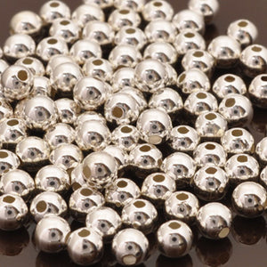 Metal Beads-4mm Round Seamed-Silver