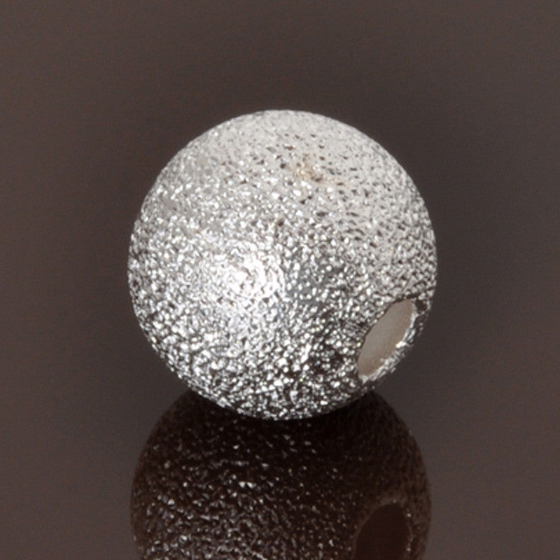 Metal-Round Stardust Bead-Silver