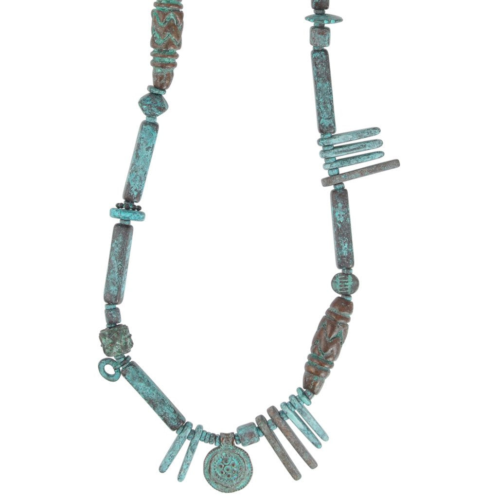 Modern Metal Patina Necklace Handmade Jewelry Focal Camilla Blue