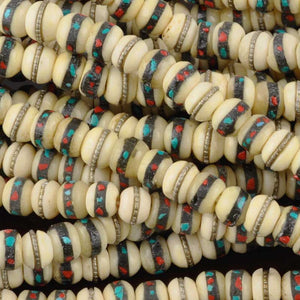 Natural-6-7mm Nepal Mala Bead W/Inlay-Off White