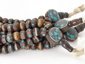 Natural-7.5mm Nepal Mala Bead W/Inlay-Dark Brown-Quantity 108