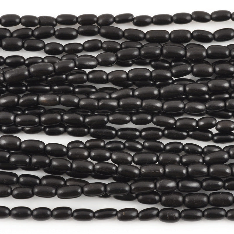 Natural Beads-4x8mm Rice-Black Horn