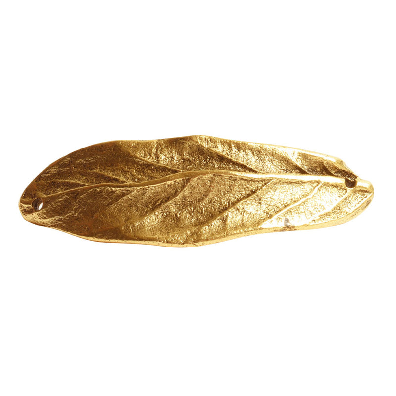 Nunn Design-Brass-50x16.5mm Bracelet Link Large Leaf-Double Hole-Antique Gold