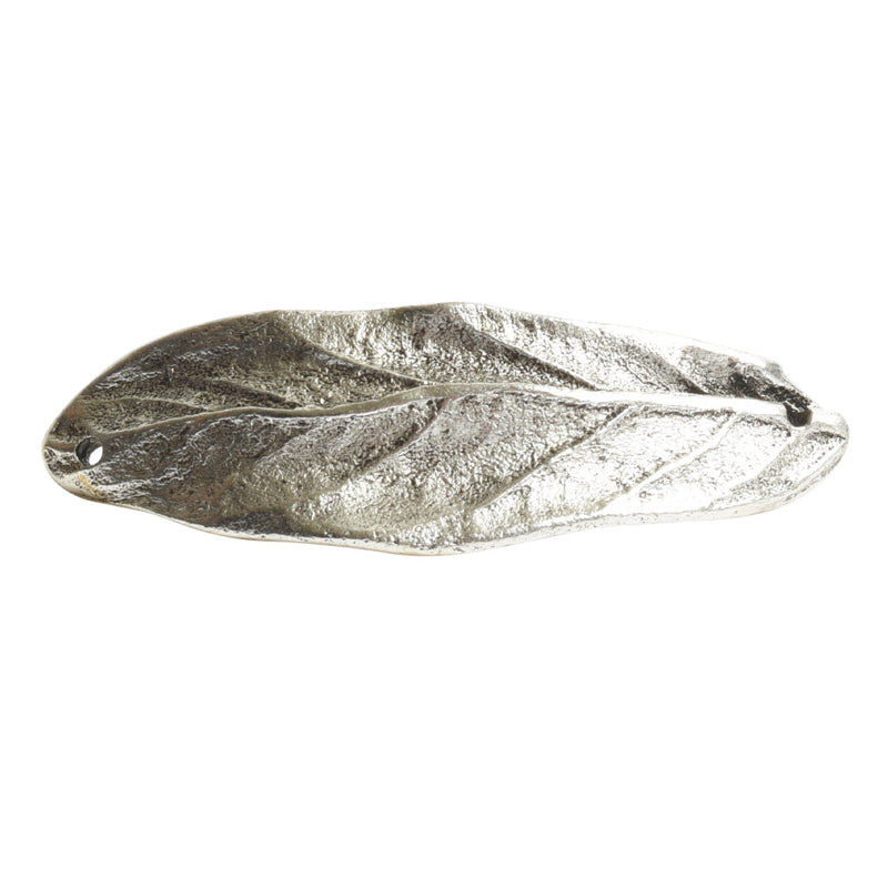 Nunn Design-Brass-50x16.5mm Bracelet Link Large Leaf-Double Hole-Antique Silver