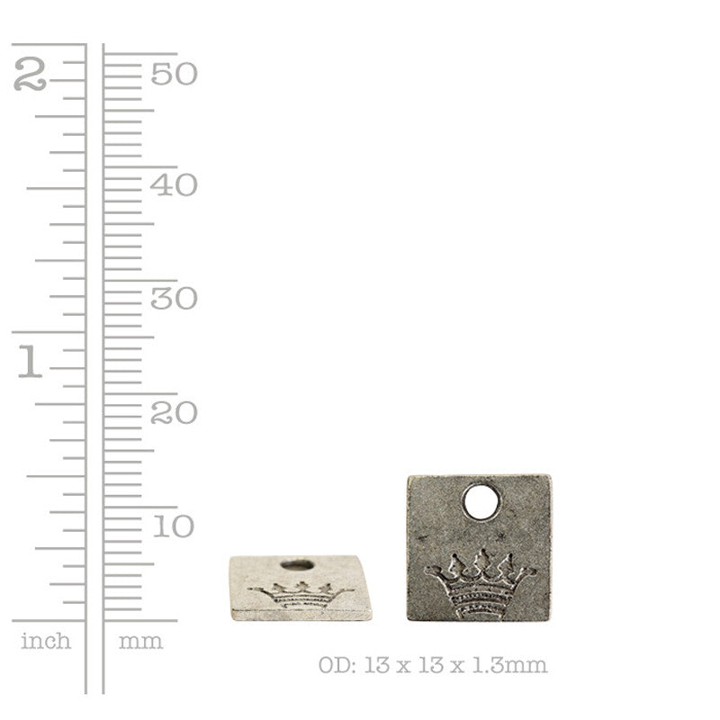 Nunn Design-Pewter-12mm Mini Square Crown Tag