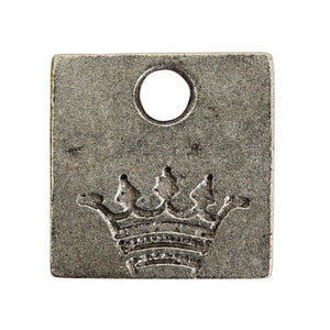 Nunn Design-Pewter-12mm Mini Square Crown Tag-Antique Silver