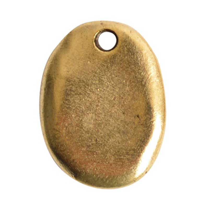 Nunn Design-Pewter-18mm Primitive Tag Small Oval Charm-Antique Gold-Quantity 1