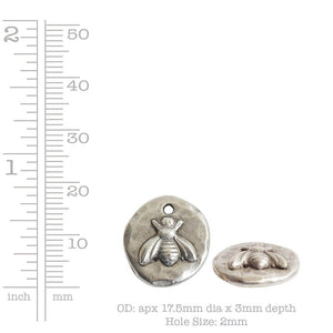 Nunn Design-Pewter-18mm Round Organic Bee-Small Charm-Antique Copper