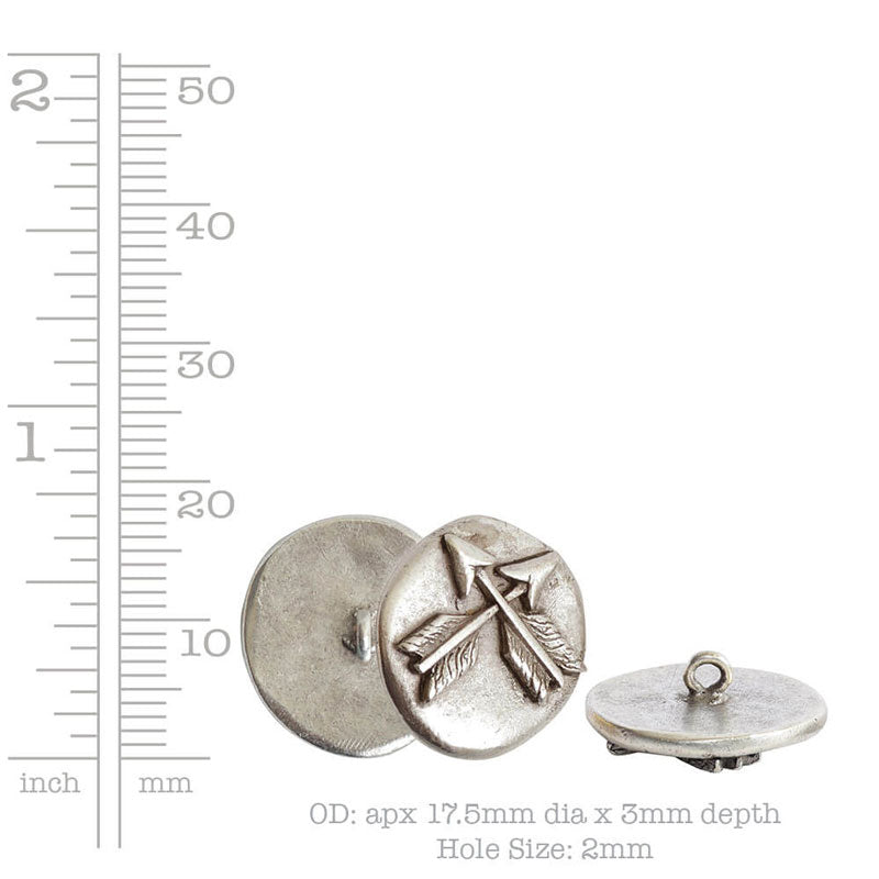 Nunn Design-Pewter-18mm Round Organic Crossed Arrows-Small Button